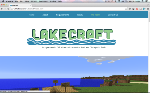 Screenshot of the top of the page, Lakecraft website.